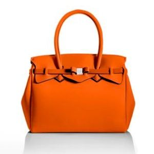 Save my bag neon orange tote purse NWT